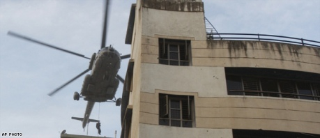 Commandos landing on top of the Chabad House in Mumbai on Friday